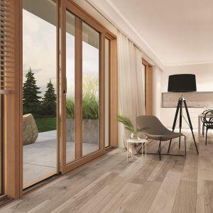 Przestrzeń bez barier. Dom dostosowany do seniorów i osób z ograniczeniami ruchowymi. Patio Inowa_design i komfort nowoczesnych drzwi tarasowych. Fot. Roto