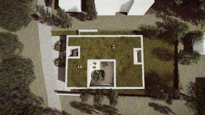 Projekt jednokondygnacyjnego budynku zakłada prostą bryłę w kształcie prostopadłościanu, którego dłuższe boki pozbawione otworów okiennych mogły stanąć tuż przy granicy działki. Zespół projektowy: arch. Marek Wawrzyniak, arch. Karol Wawrzyniak, arch. Agata Marekwia, inż. Izabela Groborz-Musik - konstrukcja