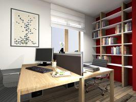 Przestrzeń biurowa dwustanowiskowa. Projekt i zdjęcia: Marcin Sieradzki (BIAMS)
