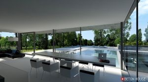 Dom wpisany w las. Dom jest czystą formą, prostą, surową kubaturą, która kontrastuje z naturalnym ciepłem drzew. Projekt i wizualizacje: Seweryn Nogalski (Beton House)