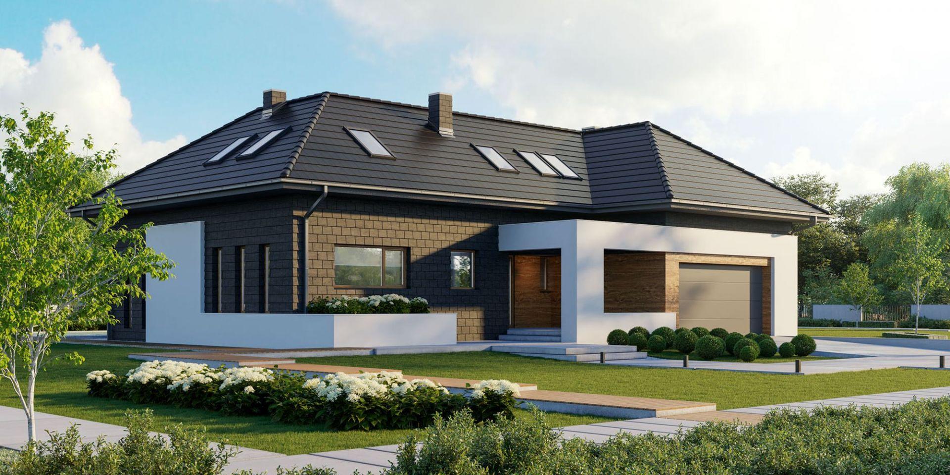 Strefa wejściowa jest wyraźnie zaznaczona i wyeksponowana poprzez charakterystyczną ażurową konstrukcję. Dom HomeKoncept 13. Projekt i zdjęcia: HomeKoncept