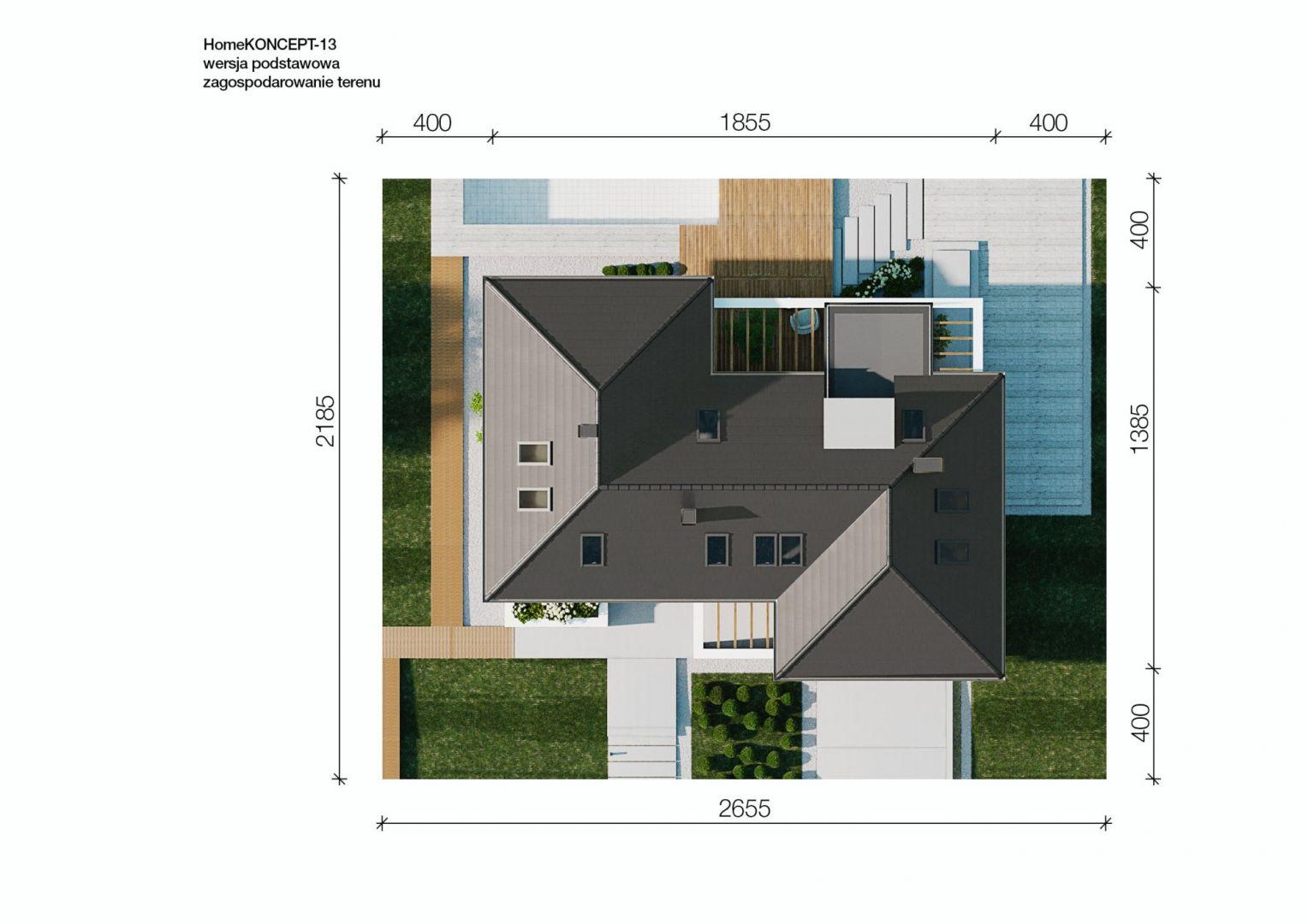 Usytuowanie domu na działce. Dom HomeKoncept 13. Projekt i zdjęcia: HomeKoncept