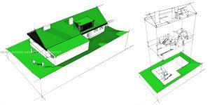 Przebudowa leśnej chaty - koncepcja projektowa. Projekt i wizualizacje: ANIEA - Andrzej Niegrzybowski architekt