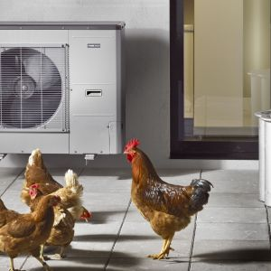 Jednostka zewnętrzna AMS 10 dostarcza energię cieplną do ogrzania wody użytkowej i zasilania systemu grzewczego, korzystając z darmowej energii zawartej w powietrzu zewnętrznym. Fot. Nibe