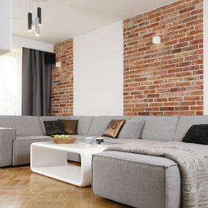 Szarość nie musi być nudna! Szara skórzana kanapa i dodatki w tym samym kolorze doskonale współgrają z ceglaną ścianą. Projekt: Agata Plitz, Fot. Bartosz Jarosz