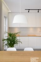 Widać tu wpływ skandynawskiej estetyki - w jasnym wnętrzu dominuje biel, szarość i naturalne jasne drewno, ciekawie wzbogacone dekoracyjnymi akcentami. Projekt: Czajkowski Kluźniak Architekci. Fot. Archifolio / Tomasz Zakrzewski