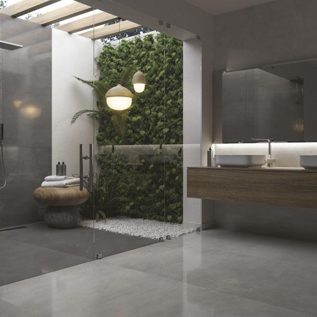 Modna łazienka - płytki w ciemnej tonacji