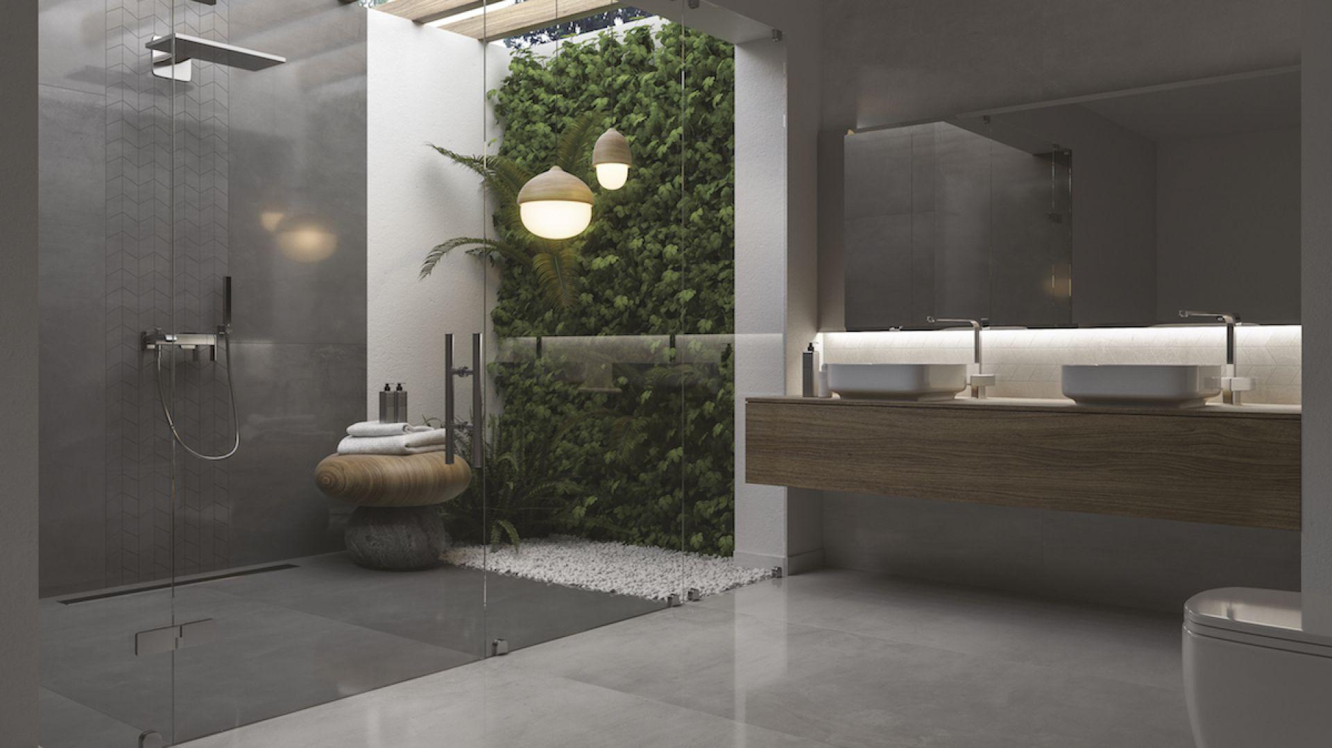 Modna łazienka Płytki W Ciemnej Tonacji