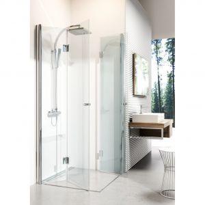 Możliwość złożenia drzwi do środka kabiny Kerria, płasko przy ścianie, pozwala powiększyć powierzchnię użytkową łazienki, gdy nikt nie korzysta z prysznica. Fot. Deante