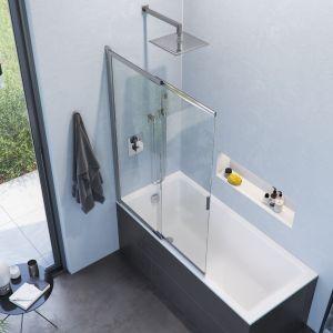 """W małych łazienkach od zawsze sprawdzają się rozwiązania typu """"dwa w  jednym"""", takie jak połączenia wanien z parawanami nawannowymi. Rozsuwany parawan wannowy Liner z uniwersalnym montażem, zawiera unoszony zawias. Fot. Excellent"""
