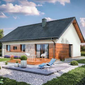Domena 120 - jednorodzinny dom o powierzchni użytkowej 99,5 m kw. Siłą tego projektu jest prosta bryła, łatwa w budowie i tania w utrzymaniu oraz wszystkie pomieszczenia potrzebne do wygodnego życia na przestrzeni niespełna 100 metrów. Projekt: Domena. Fot. Domena
