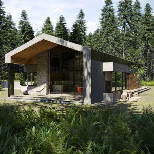 Niewielki parterowy dom jednorodzinny o powierzchni użytkowej ok. 150 m kw. Architekt umiejętnie połączył w tym projekcie funkcjonalność, prostotę i nowoczesność, tworząc idealny pomost między mieszkaniem w bloku, a dużym domem o charakterze willi. Projekt i wizualizacje: Marcin Sieradzki (BIAMS)