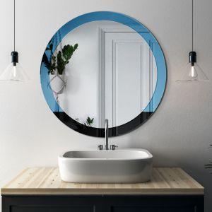 Eleganckie okrągłe lustro Sunrise w modernistycznym stylu. Ramę z dwóch kolorów tworzy lustro niebieskie i czarne. Fot. GieraDesign