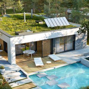 Projekt tego domu zbliża do natury. Rozległa przestrzeń tarasu zapewnia wspaniały widok na otaczającą dom zieleń. Basen w ogrodzie nadaje całości luksusu. Projekt: Artur Wójciak. Fot. Pracownia Projektowa Archipelag