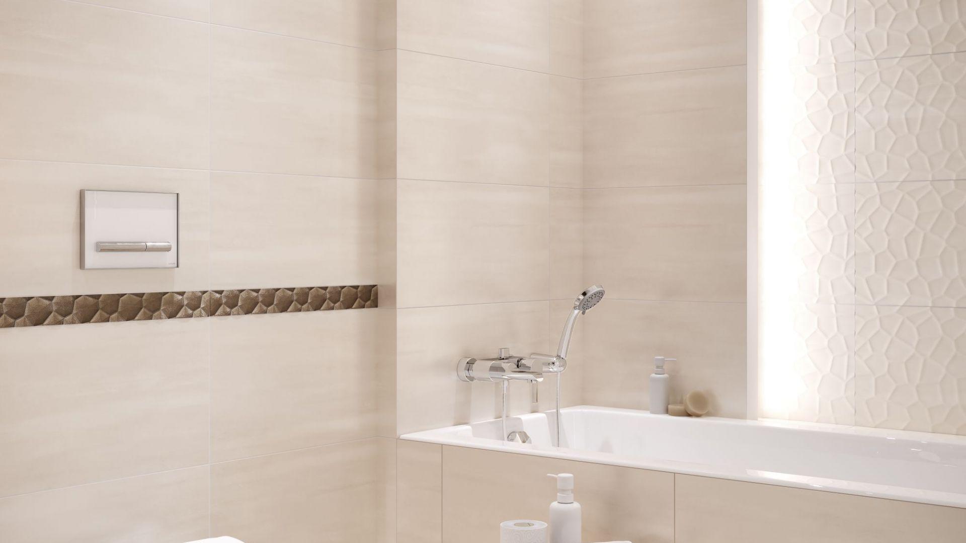 Łazienka, w której z przyjemnością odpoczniesz po ciężkim dniu, inspirowana odcieniem ciepłego, kremowego stiuku to kolekcja Calm Organic. Fot. Cersanit