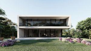 Głównym założeniem architektów było stworzenie budynku o prostej formie, która będzie tłem dla istniejącej zieleni. Dom, poprzez duże przeszklenia od strony ogrodu otwiera swoje wnętrza na rzekę. Projekt i wizualizacje: modula architekci