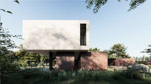 Formę budynku tworzą dwie, nałożone na siebie prostopadłościenne bryły. Na zróżnicowaną kolorystykę domu składają się białe tynkowane powierzchnie, grafitowe słupy i ramy okienne oraz corten, który stanowi wykończenie przyziemia domu. Projekt i wizualizacje: modula architekci