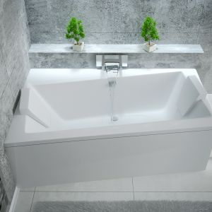 Wanna akrylowa asymetryczna Infnity - idealna do małych łazienek. Fot. Besco