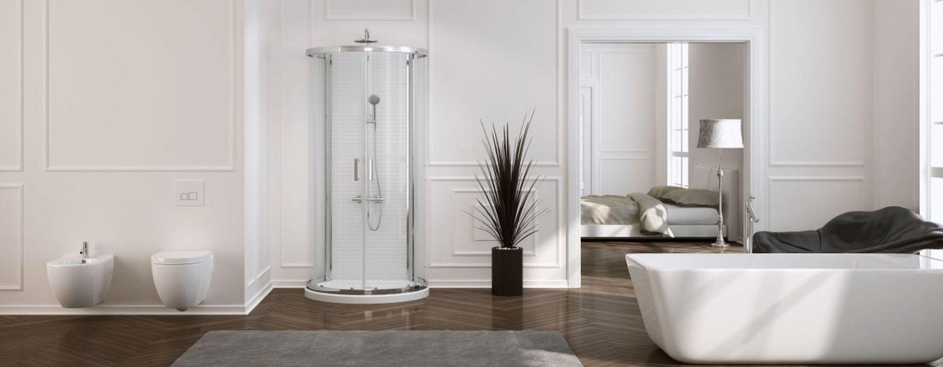 Aranżacja łazienki: New Rondo kabina przyścienna. Fot. New Trendy