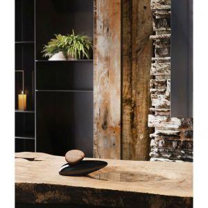 Armatura Equilibrio marki Gessi do złudzenia przypomina płaski, wypolerowany przez rzeczny nurt kamień. Taka bateria stanowić będzie idealne dopełnienie wymarzonej aranżacji w naturalnym stylu. Fot. mat. prasowe Greston