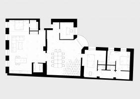 Rzut lokalu - funkcjonalny podział przestrzeni. Projekt: Maciej Kurkowski, Maciej Sutuła (Five Cell Architects)