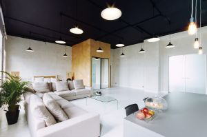 Na trzecim piętrze kamienicy Goldstanda przy ul. Kredytowej w Warszawie powstała reprezentacyjna przestrzeń, spełniająca dwie odmienne role: apartamentu oraz sali konferencyjnej wraz z zapleczem socjalnym. Inwestorzy wyraźnie życzyli sobie zachować surowy klimat wnętrza kamienicy z początku XX wieku. Projekt: Maciej Kurkowski, Maciej Sutuła (Five Cell Architects)