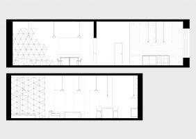 Lokal spełnia dwie odmienne role: sali konferencyjnej wraz z zapleczem socjalnym (rys. u góry) oraz apartamentu (u dołu). Projekt: Maciej Kurkowski, Maciej Sutuła (Five Cell Architects)