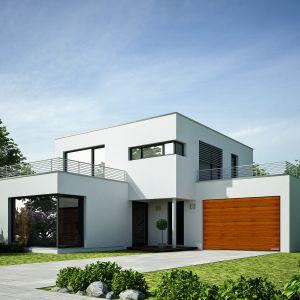 Dużą popularnością cieszą się bramy w kolorze drewna. Głównie dlatego, że ocieplają nowoczesną bryłę budynku. Fot. Gerda