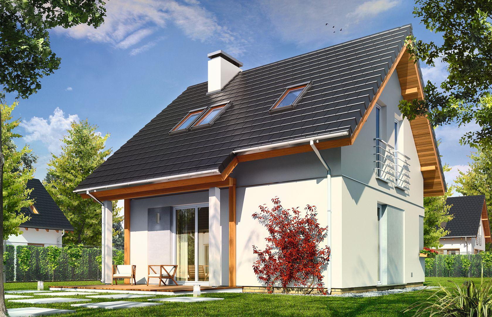 Nawet na 62 m kw. powierzchni użytkowej domu można zmieścić pełnoprawne czteropokojowe mieszkanie. Projekt: Mikrus. Fot. MG Projekt