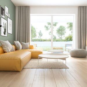 Dom pod Toruniem. Sofa stanowi centralny i charakterystyczny punkt części dziennej. Fot. Inspirium
