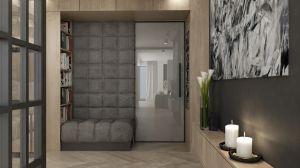 Oś kompozycyjną wnętrza domu stanowi korytarz, który łączy część prywatną i dzienną płaszczyzną wykończonej naturalnym drewnem ściany. Projekt i wizualizacje: 3DPROJEKT architektura