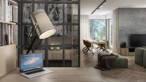 Gabinet oddzielony jest od salonu industrialnym przeszkleniem. Projekt i wizualizacje: 3DPROJEKT architektura