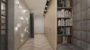 Ta najdłuższa w całym domu ściana, przebiegająca do najdalej położonej sypialni skrywa drzwi do pomieszczeń i kończy się dyskretnie wkomponowaną kuchnią. Projekt i wizualizacje: 3DPROJEKT architektura