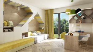 Dzięki dużym przeszkleniom pomieszczenia mieszkalne są bardzo dobrze nasłonecznione. Ważny element tego projektu stanowią zasłony. Architekci położyli duży nacisk na wybór faktur i materiałów, ale również na zastosowanie tkanin technicznych, które ograniczają zyski ciepła. Projekt i wizualizacje: 3DPROJEKT architektura
