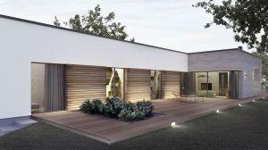 Horyzontalna kompozycja elewacji została podkreślona poprzez poziome deski ze szczotkowanego drewna oraz kamień elewacyjny w postaci drobnych, poziomych, łupanych płytek. Duże płaszczyzny wykończone naturalnymi materiałami podkreślają minimalistyczną bryłę budynku. Projekt i wizualizacje: 3DPROJEKT architektura