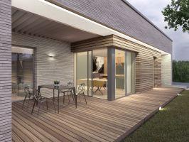 Duże, przesuwne, bezprogowe przeszklenia umożliwiają otwarcie pomieszczeń na zewnątrz i swobodne korzystanie z tarasów, które zostały zaprojektowane w taki sposób, aby umożliwić spędzanie czasu na zewnątrz w różnych warunkach pogodowych. Projekt i wizualizacje: 3DPROJEKT architektura