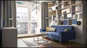Ściankę dzielącą sypialnię i salon stworzył wysoki regał. Projekt i wizualizacje: Magdalena Gackowska (Gackowska Design)