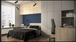 W sypialni wygospodarowano miejsce do pracy. Projekt i wizualizacje: Magdalena Gackowska (Gackowska Design)