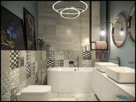Łazienka w kolorystyce innej niż pozostałe pomieszczenia. Niebieskie barwy, stonowane, połączone z szarościami i czarnymi dodatkami. Projekt i wizualizacje: Magdalena Gackowska (Gackowska Design)