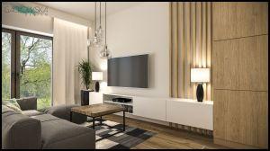 Salon w bieli, dębie i szarościach urozmaicony motywem drewnianych belek. Projekt i wizualizacje: Magdalena Gackowska (Gackowska Design)