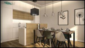 Kuchnia, w bieli i dębie, z półwyspem połączonym z jadalnią. Projekt i wizualizacje: Magdalena Gackowska (Gackowska Design)