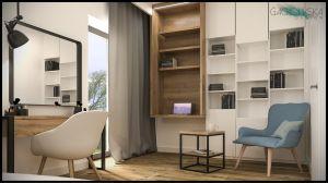 W sypialni wydzielono miejsce na mini gabinet, z regałem i miejscem do poczytania. Projekt i wizualizacje: Magdalena Gackowska (Gackowska Design)