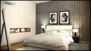 Sypialnia w kolorach szarych, białych i dębie z motywem drewnianych belek. Projekt i wizualizacje: Magdalena Gackowska (Gackowska Design)