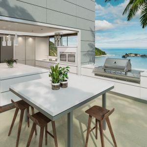 Blaty w kuchni zewnętrznej można dopasować do tych wewnątrz domu. Fot. TechniStone®.