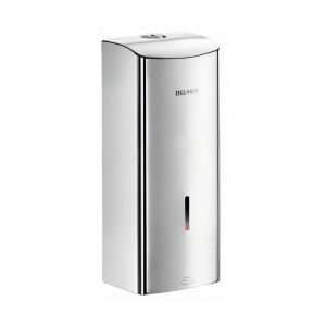 Elektroniczny, ścienny dozownik mydła w płynie/Delabie. Produkt zgłoszony do konkursu Dobry Design 2020.