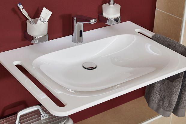 Kolekcja umywalek mineralnych VIGOUR derby plus z uchwytami bocznymi