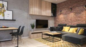 Wnętrze, mimo zastosowania ciemnych kolorów, cegły i betonu jest jasneoraz przestronne.Zastosowanie podobnych układów w dekoracjach, ale z użyciem innych materiałów, nadaje mu natomiast indywidualny charakter.