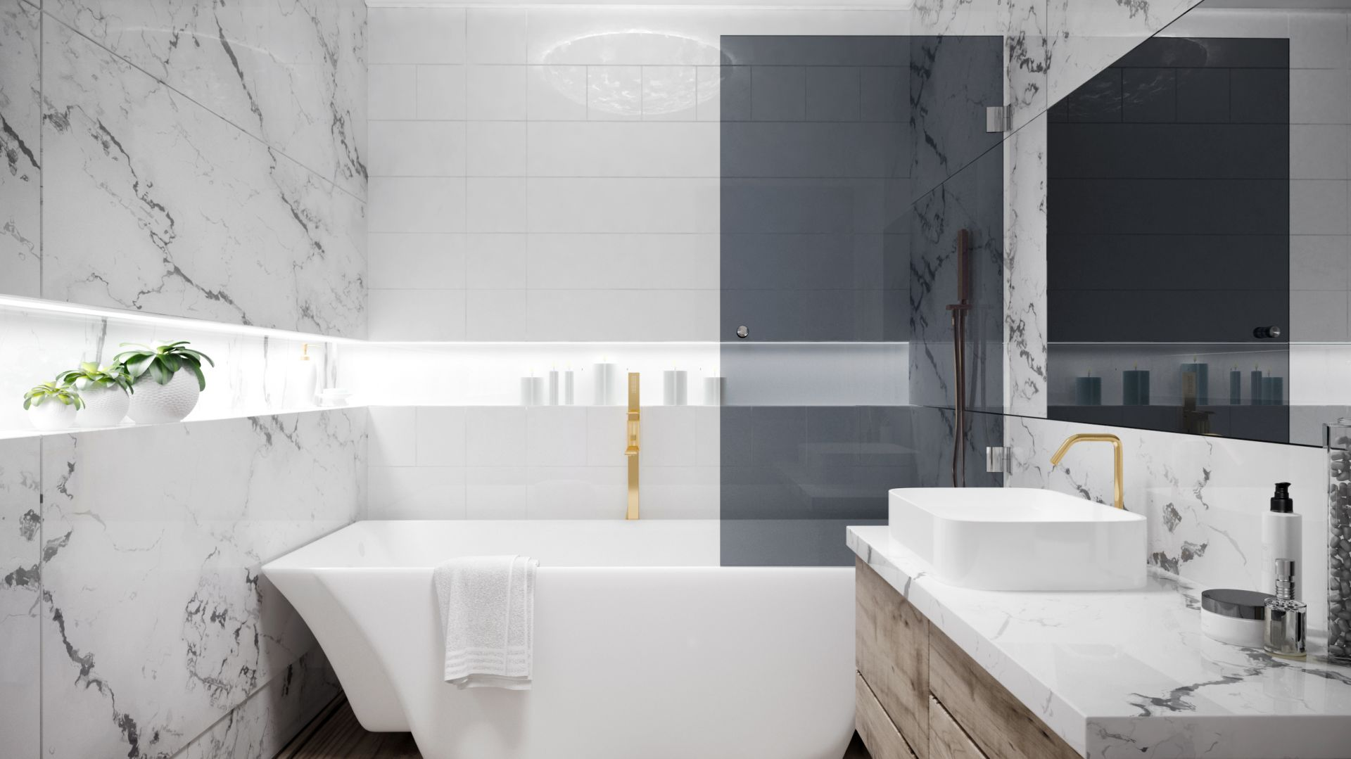 Parawan nawannowy Giuliano łączy funkcjonalność otwartej wanny z zamkniętym prysznicem; z eleganckiego grafitowego szkła. Fot. Glasimo