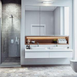 Drzwi wnękowe z serii Mazo uchylane do wewnątrz i na zewnątrz strefy prysznica; powłoka Clean Control ułatwia czyszczenie. Fot. Excellent
