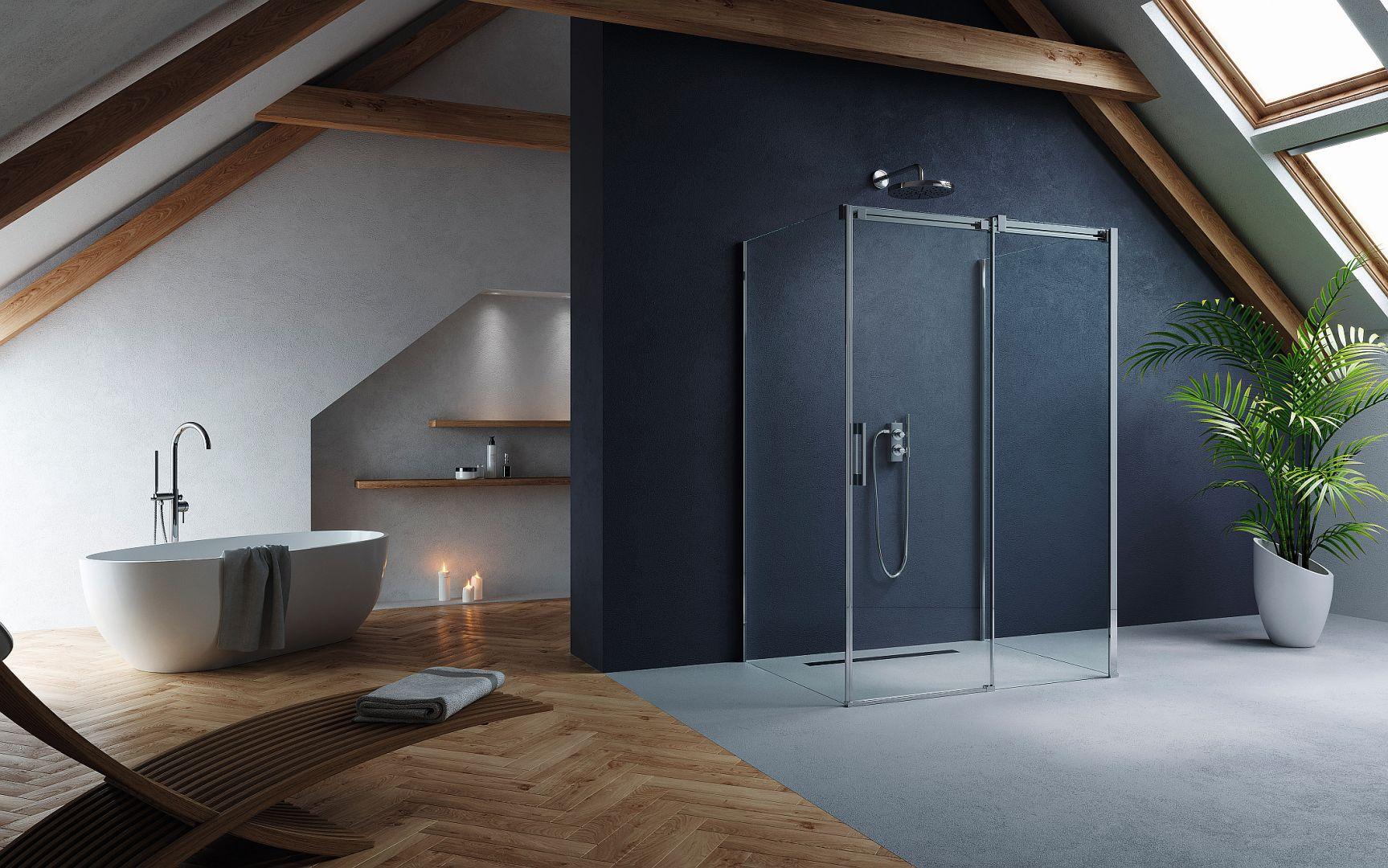 ESPERA KDJ -  to wynik designerskiego połączenia szkła z eleganckimi chromowanymi detalami. Przestronna kabina dla osób ceniących dobry design, które preferują geometryczne formy składające się w proporcjonalną całość. Radaway, www.radaway.pl
